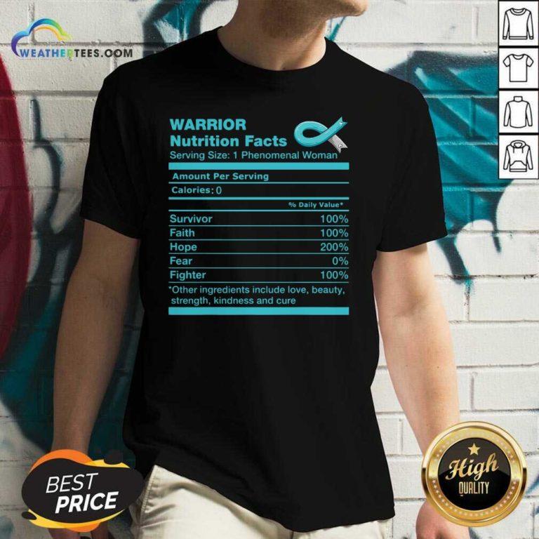 Warrior Cervical Cancer Nutrition Facts Cervical Cancer Awareness V-neck - Design By Weathertees.com