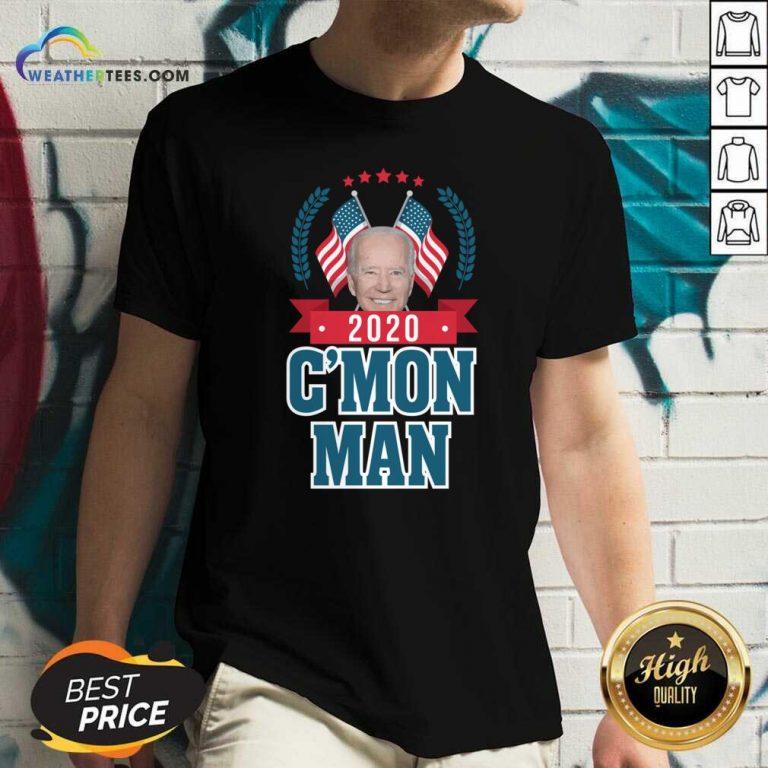 Cmon Man Come On Joe Biden American Flag V-neck - Design By Weathertees.com