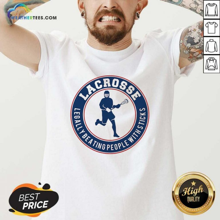 Lacrosse Legally Beating People With Sticks V-neck - Design By Weathertees.com