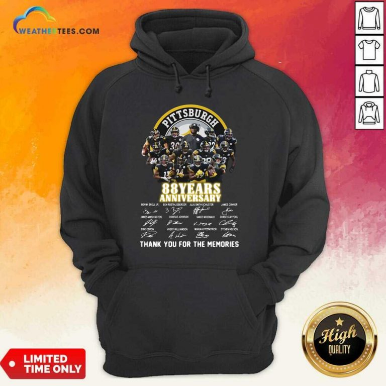 Pittsburgh Steelers 88 Years Anniversary Thank You For The Memories Signatures Hoodie - Design By Weathertees.com