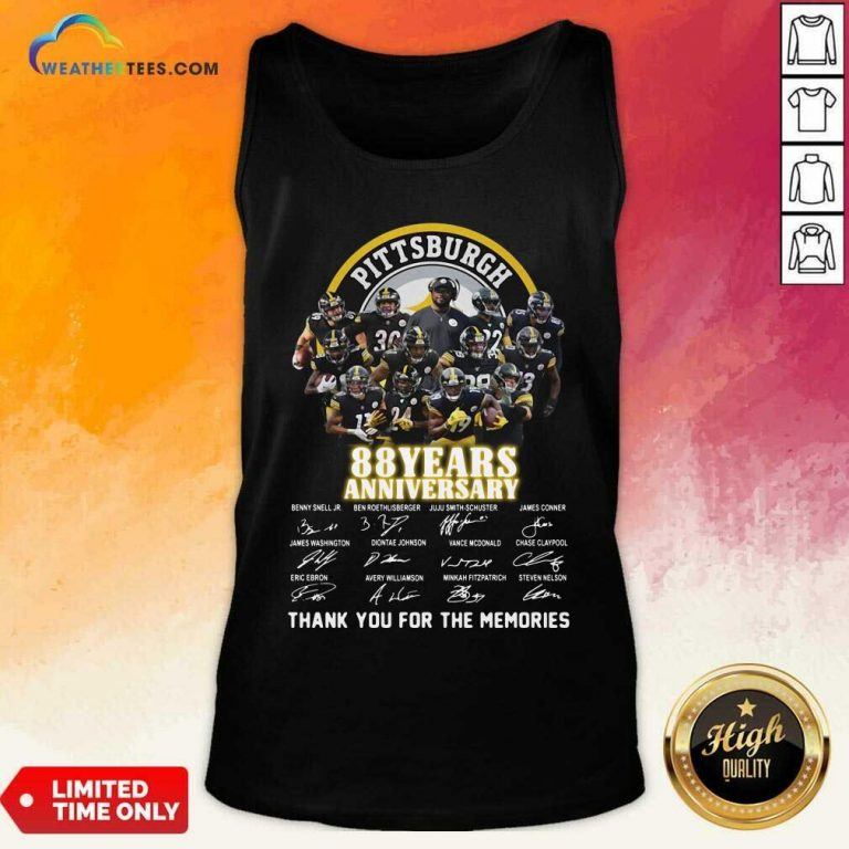 Pittsburgh Steelers 88 Years Anniversary Thank You For The Memories Signatures Tank Top - Design By Weathertees.com
