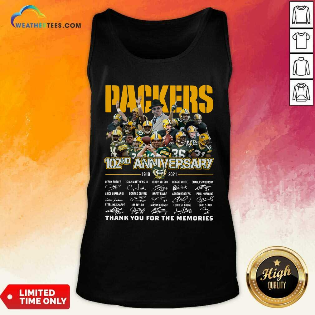 The Green Bay Packers 102nd Anniversary 1919 2021 Signatures Thank You For The Memories Tank Top - Design By Weathertees.com