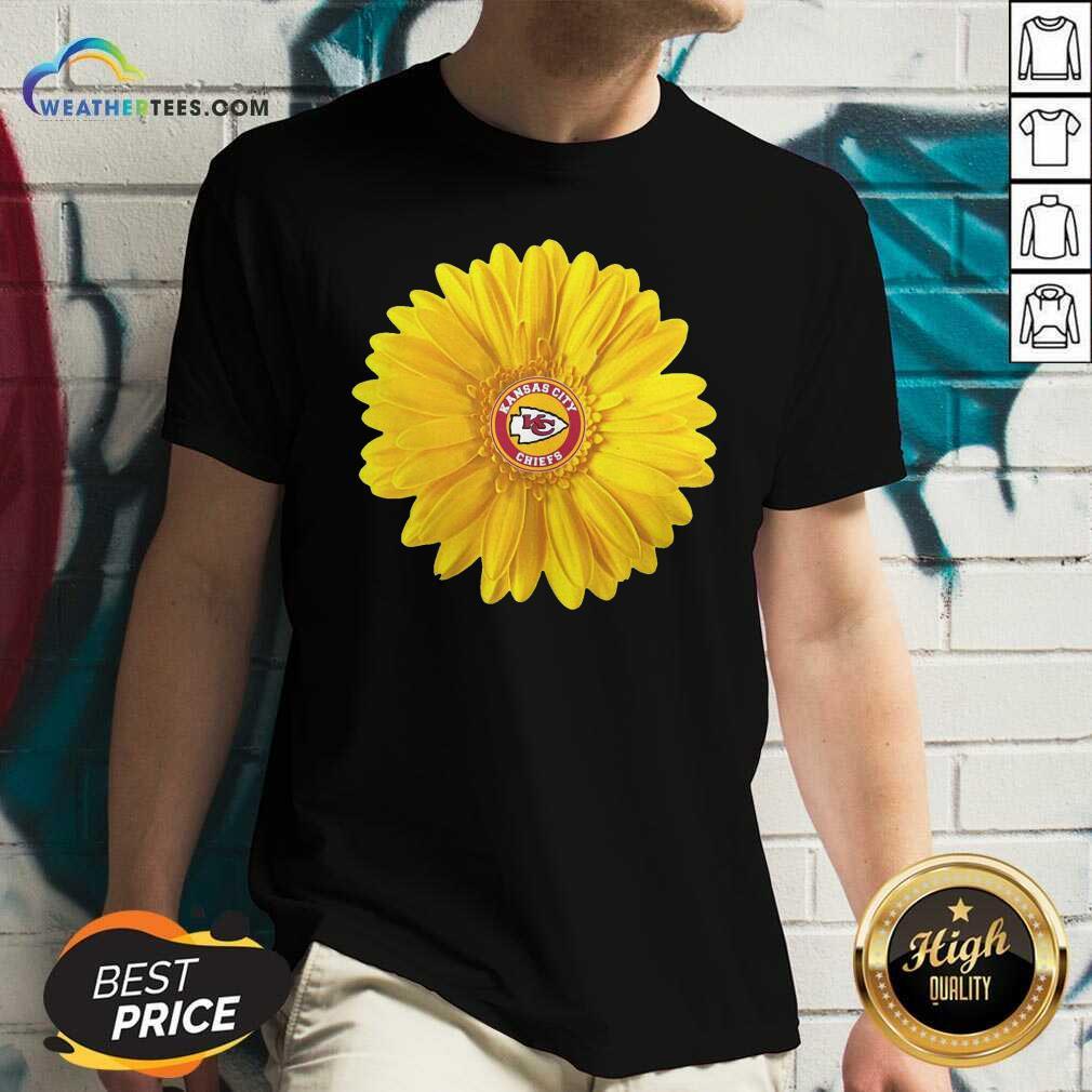 Kansas City Chiefs Sunflower V-neck - Design By Weathertees.com