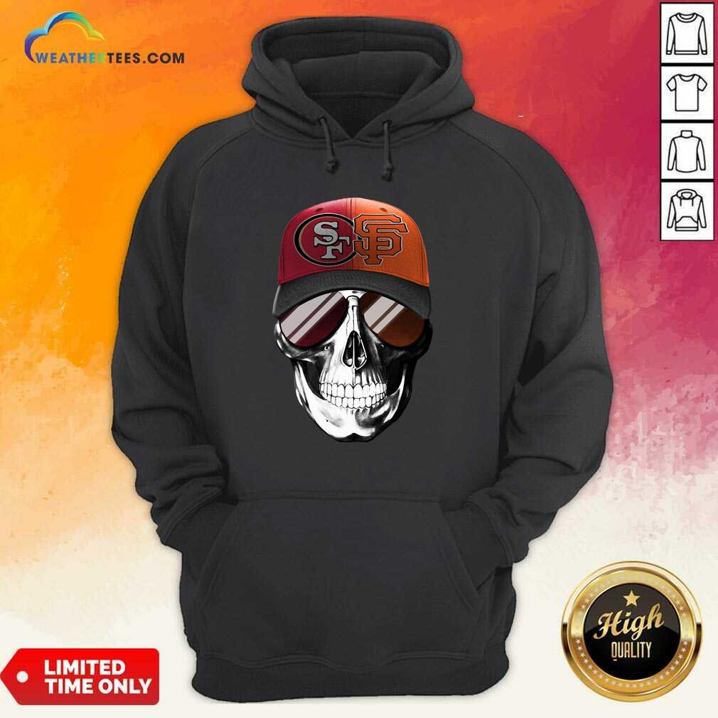 San Francisco 49ers And Los Angeles Lakers Skull Sunglass Hoodie - Design By Weathertees.com