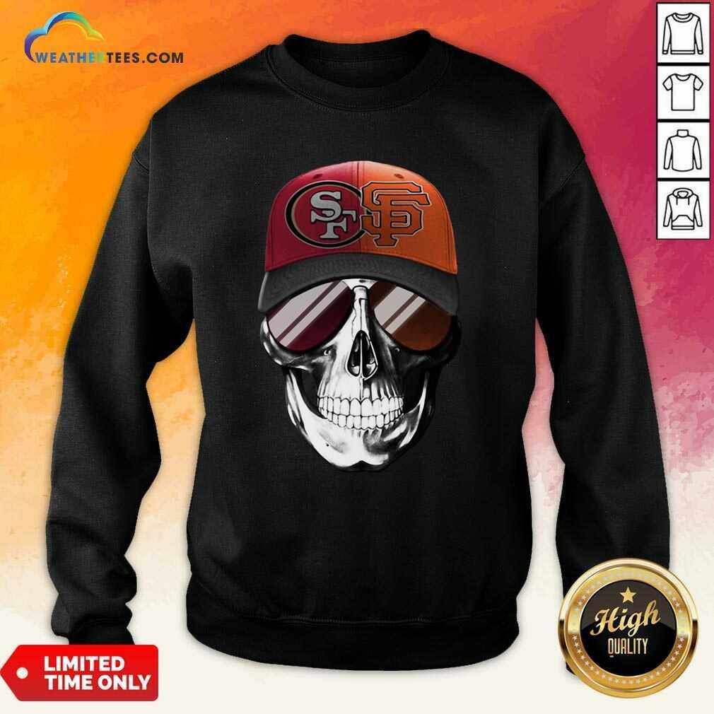 San Francisco 49ers And Los Angeles Lakers Skull Sunglass Sweatshirt - Design By Weathertees.com
