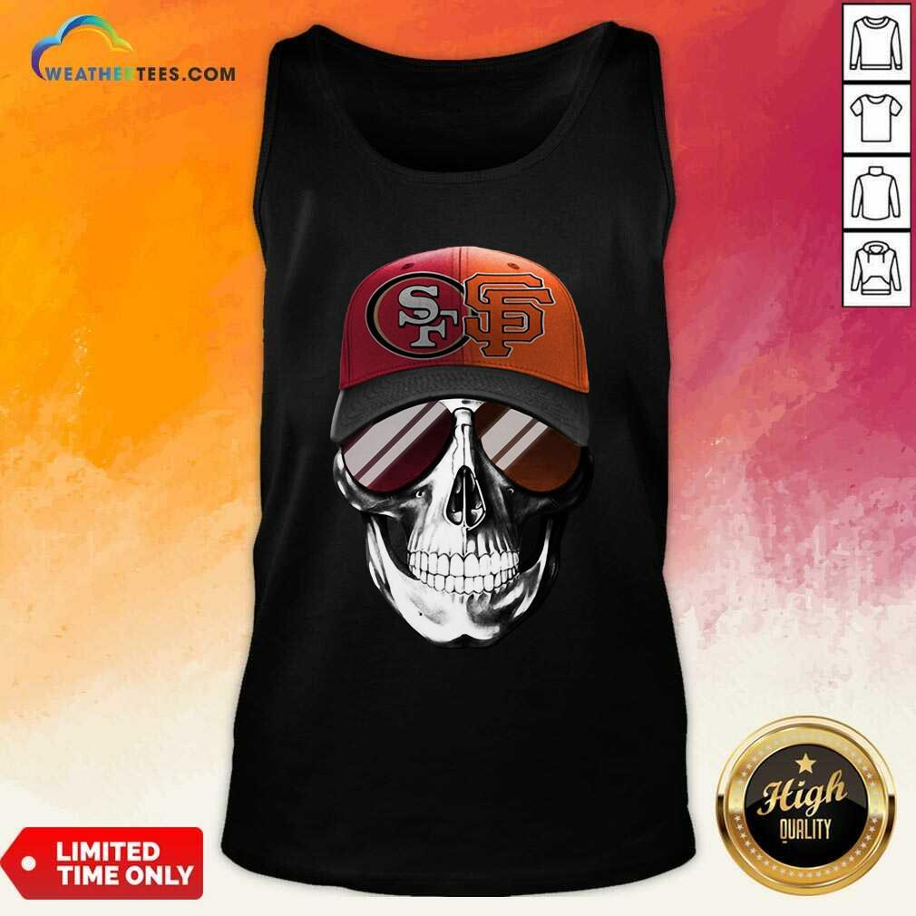 San Francisco 49ers And Los Angeles Lakers Skull Sunglass Tank Top - Design By Weathertees.com