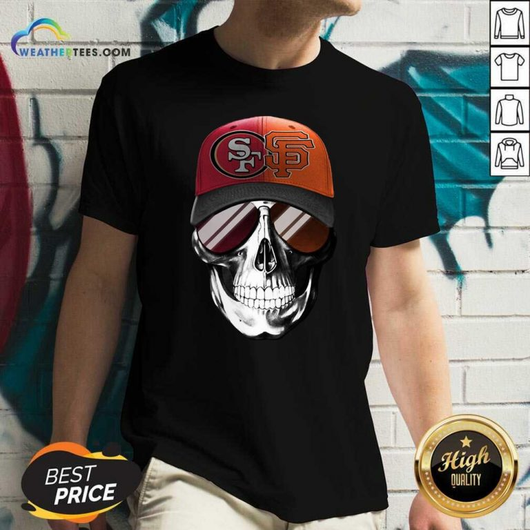 San Francisco 49ers And Los Angeles Lakers Skull Sunglass V-neck - Design By Weathertees.com