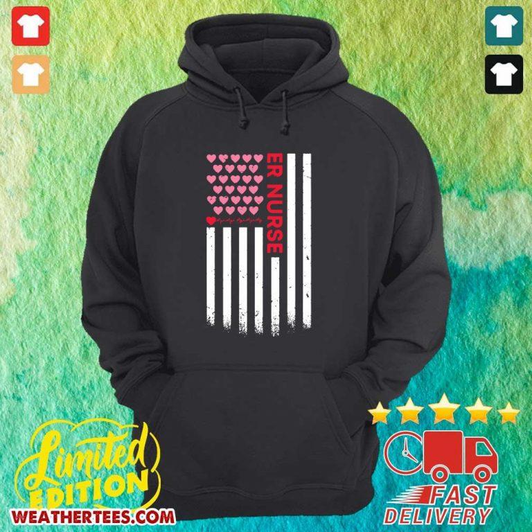 Er Nurse American Flag Heart Valentine's Day Hoodie - Design By Weathertees.com