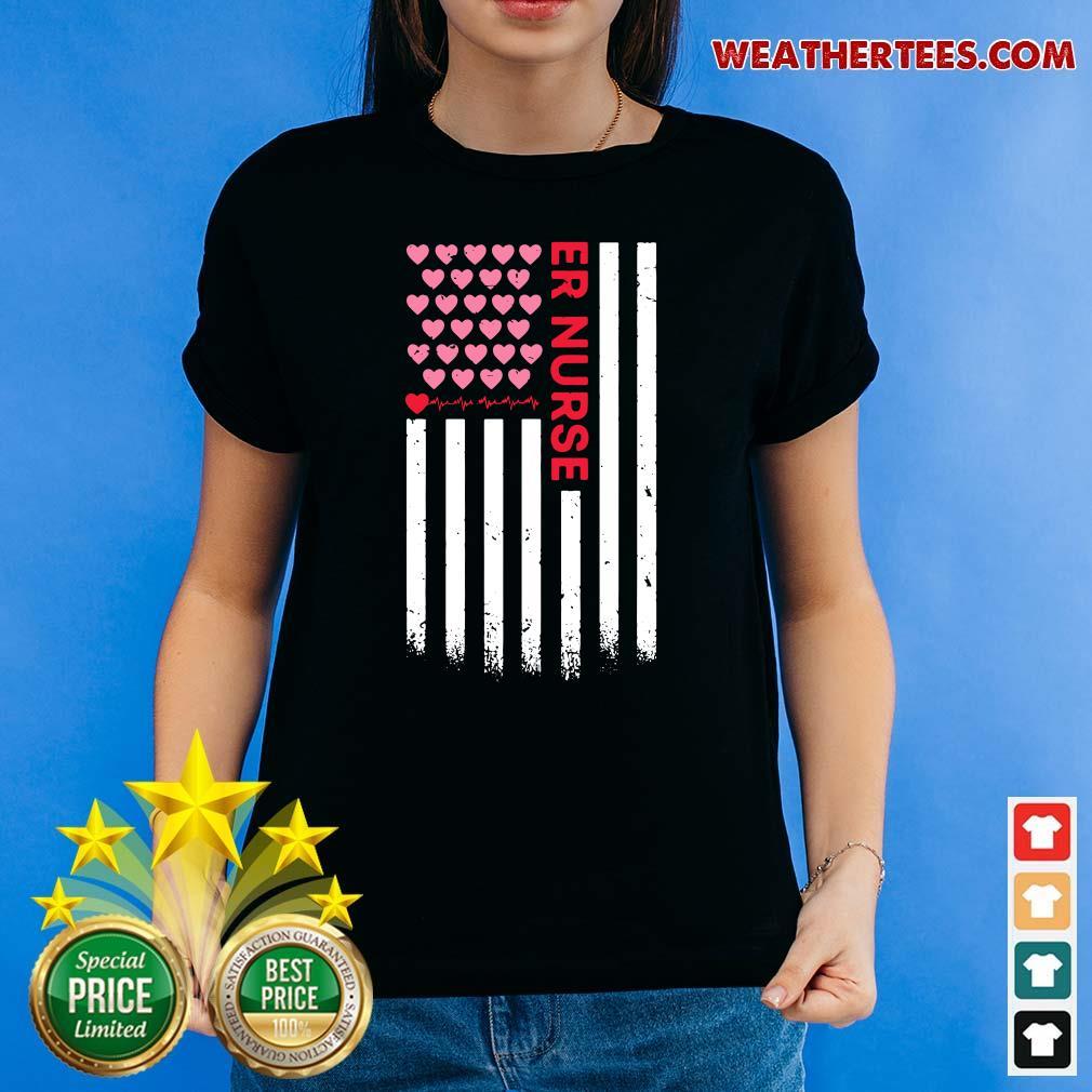 Er Nurse American Flag Heart Valentines Day Ladies-tee - Design By Weathertees.com