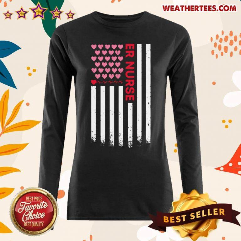 Er Nurse American Flag Heart Valentine's Day Long-sleeved - Design By Weathertees.com