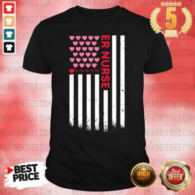 Er Nurse American Flag Heart Valentine's Day Shirt - Design By Weathertees.com