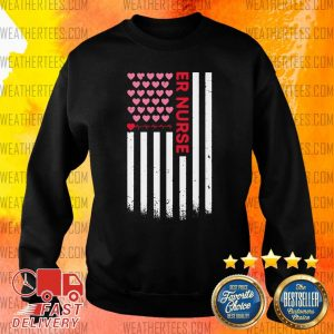 Er Nurse American Flag Heart Valentine's Day Sweater - Design By Weathertees.com