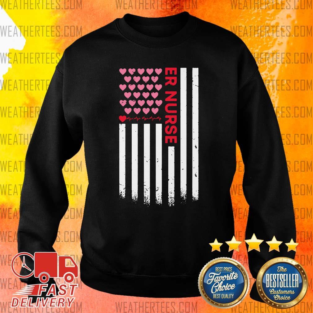 Er Nurse American Flag Heart Valentines Day Sweater - Design By Weathertees.com