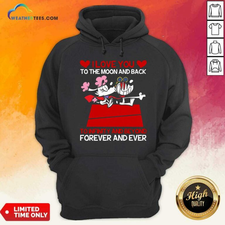 Snoopy And Girlfriend I Love You To The Moon And Back Forever And Ever Valentines Day Hoodie - Design By Weathertees.com