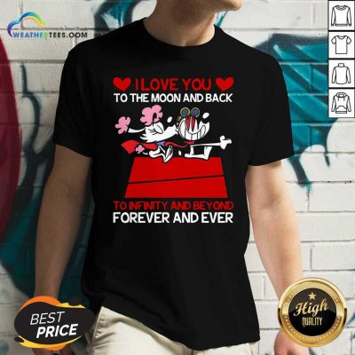 Snoopy And Girlfriend I Love You To The Moon And Back Forever And Ever Valentines Day V-neck - Design By Weathertees.com
