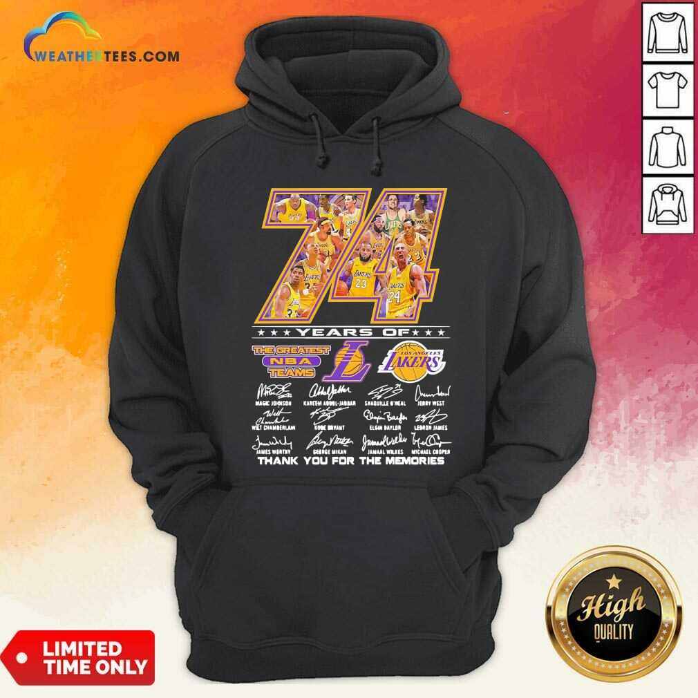 74 Years Of Los Angeles Lakers Thank You For The Memories Signatures Hoodie - Design By Weathertees.com
