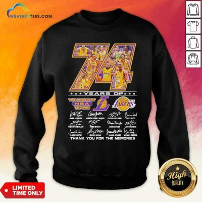 74 Years Of Los Angeles Lakers Thank You For The Memories Signatures Sweatshirt - Design By Weathertees.com