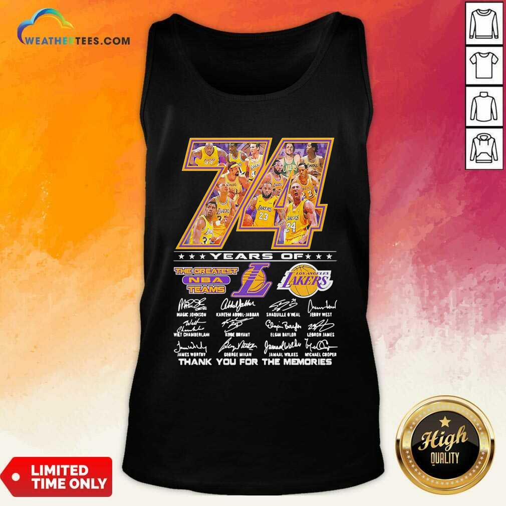 74 Years Of Los Angeles Lakers Thank You For The Memories Signatures Tank Top - Design By Weathertees.com