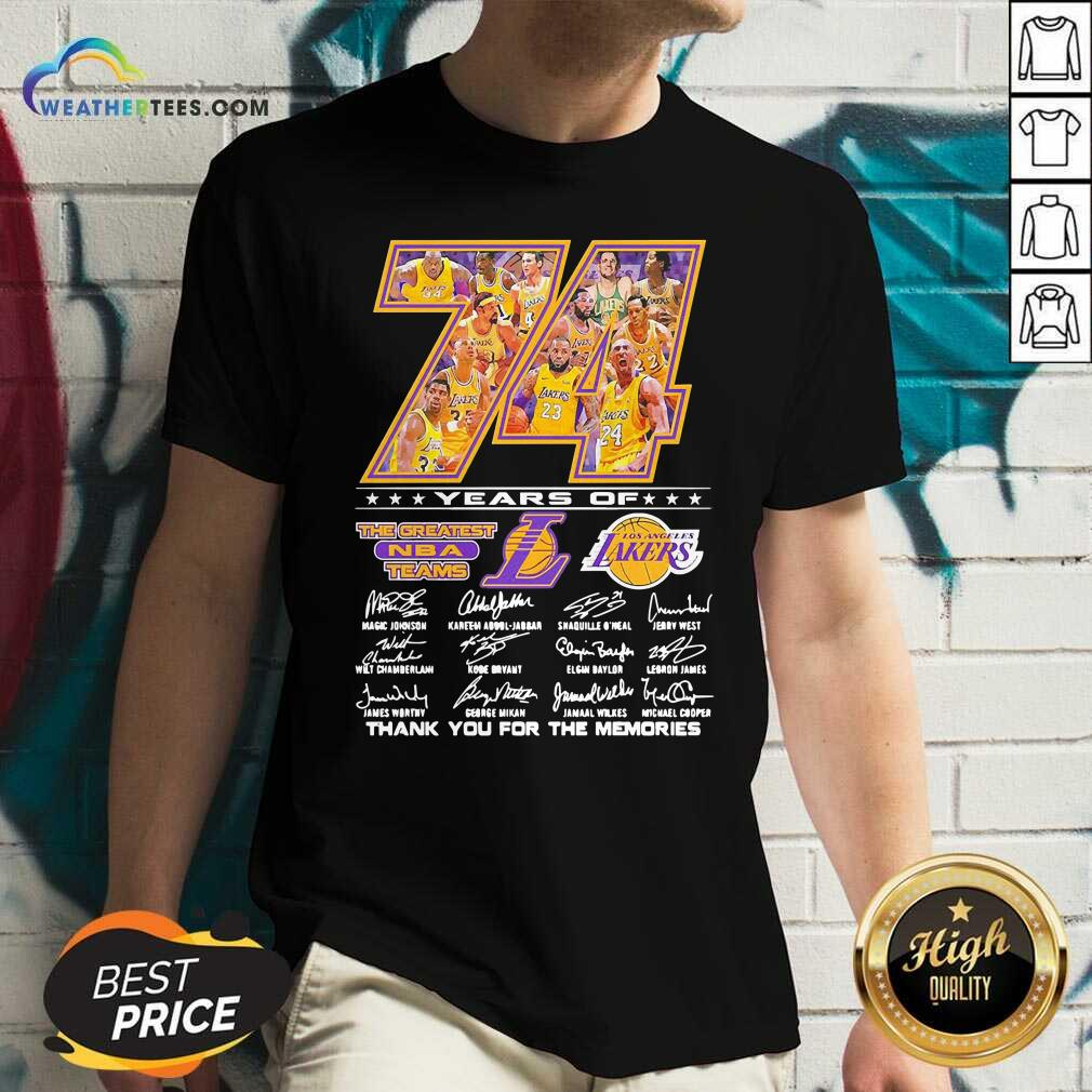 74 Years Of Los Angeles Lakers Thank You For The Memories Signatures V-neck - Design By Weathertees.com