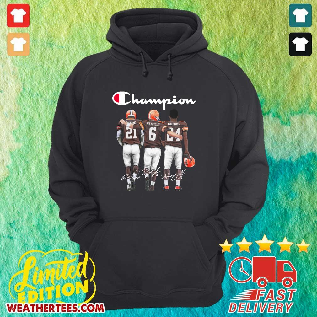 Cleveland Browns Ward Mayfield And Chubb Champion Hoodie - Design By Weathertees.com