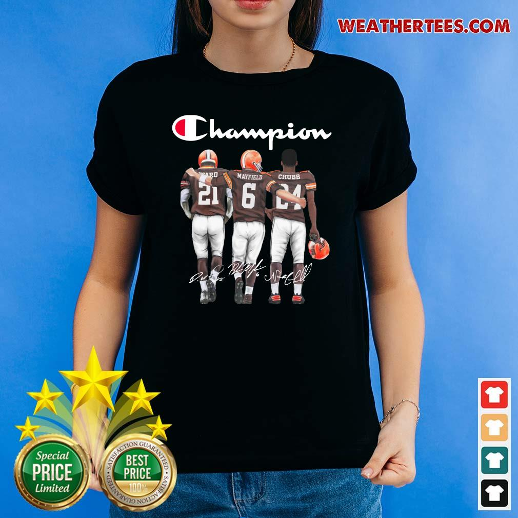 Cleveland Browns Ward Mayfield And Chubb Champion Ladies-tee - Design By Weathertees.com