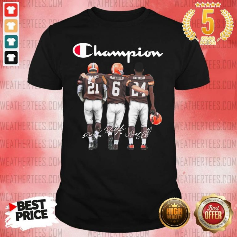 Cleveland Browns Ward Mayfield And Chubb Champion Shirt - Design By Weathertees.com