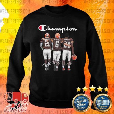 Cleveland Browns Ward Mayfield And Chubb Champion Sweater - Design By Weathertees.com