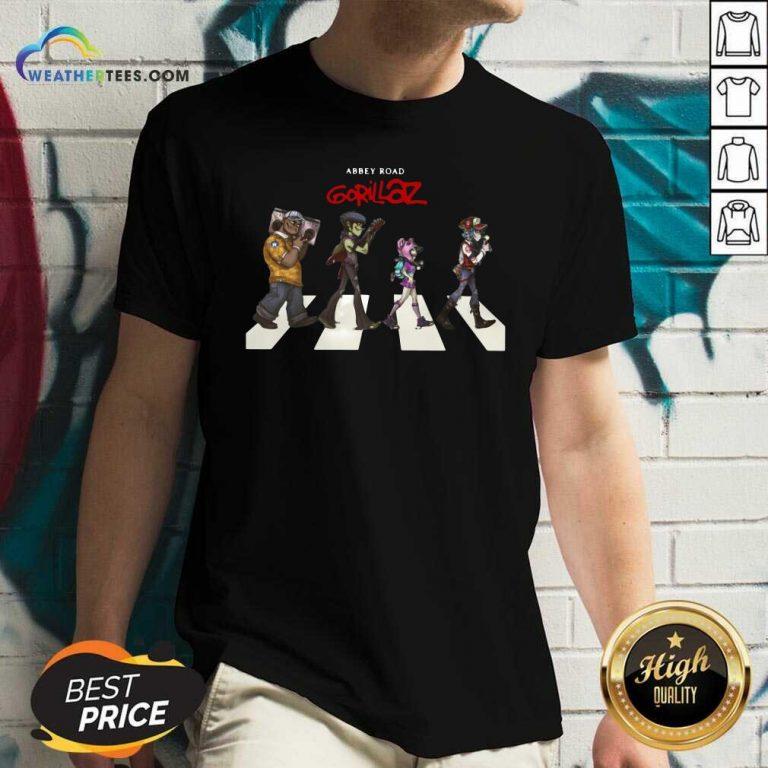 Gorillaz Abbey Road V-neck - Design By Weathertees.com