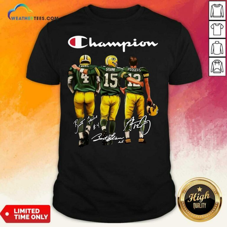 Green Bay Packers Champion Favre Starr Rodgers Signatures Shirt - Design By Weathertees.com