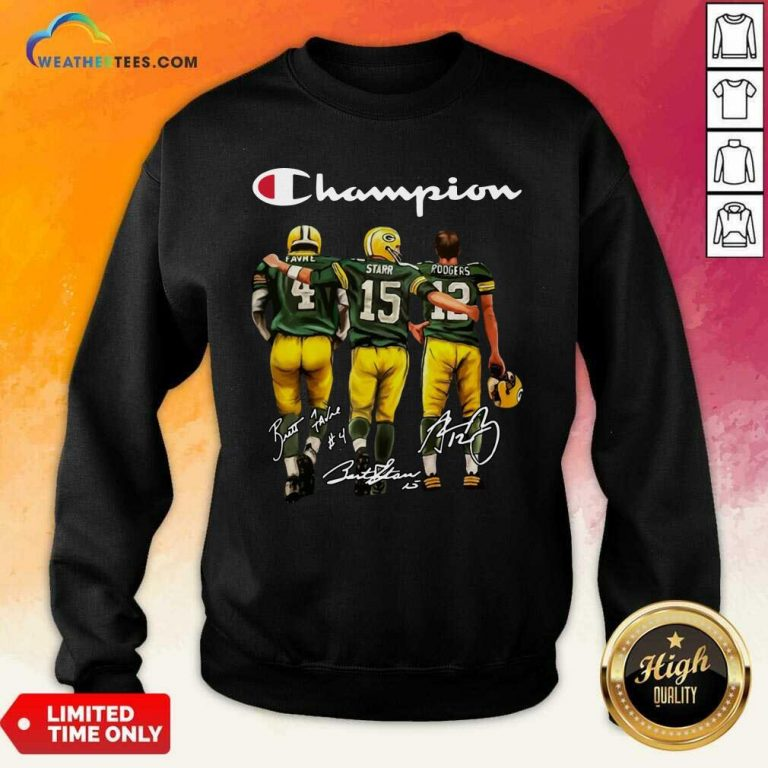 Green Bay Packers Champion Favre Starr Rodgers Signatures Sweatshirt - Design By Weathertees.com