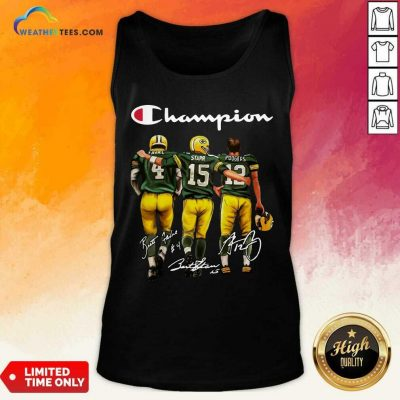 Green Bay Packers Champion Favre Starr Rodgers Signatures Tank Top - Design By Weathertees.com
