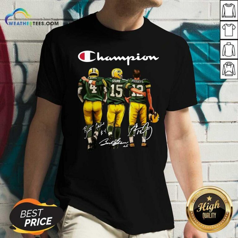 Green Bay Packers Champion Favre Starr Rodgers Signatures V-neck - Design By Weathertees.com