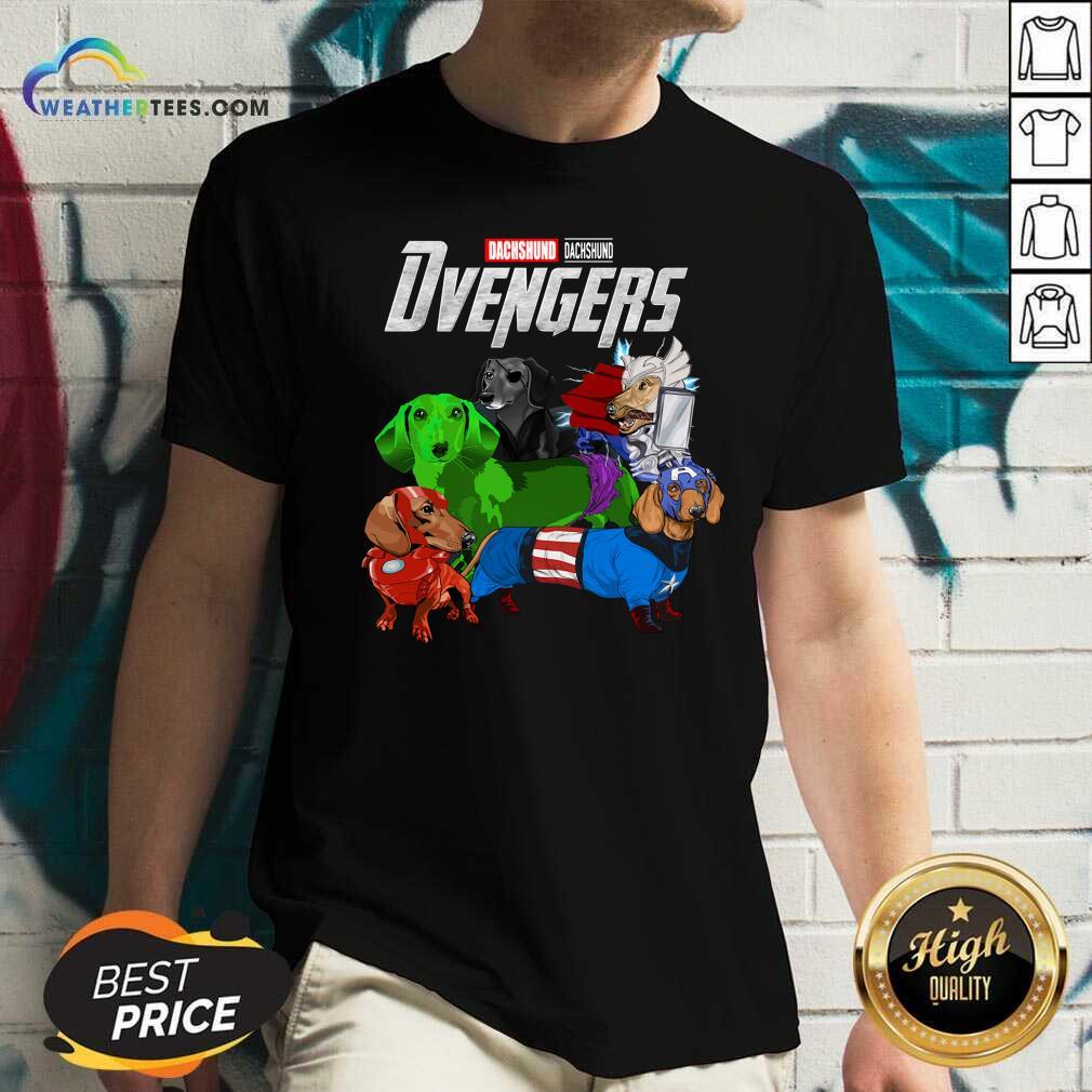 Avengers Dachshund Dvengers V-neck - Design By Weathertees.com