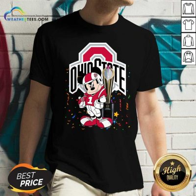 Mickey Mouse Ohio State Buckeyes V-neck - Design By Weathertees.com
