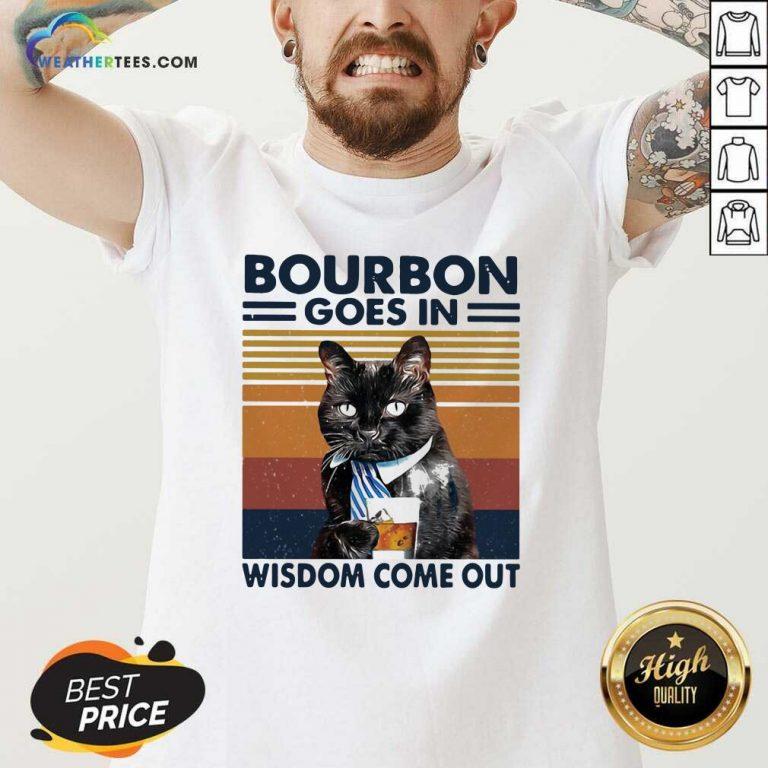 Bourbon Goes In Wisdom Come Out Cat Drink Tea Vintage V-neck - Design By Weathertees.com