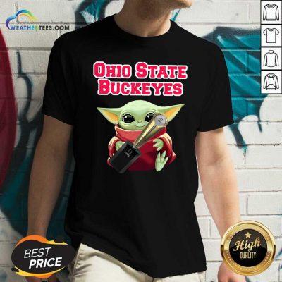 Baby Yoda Ohio State Buckeyes V-neck - Design By Weathertees.com