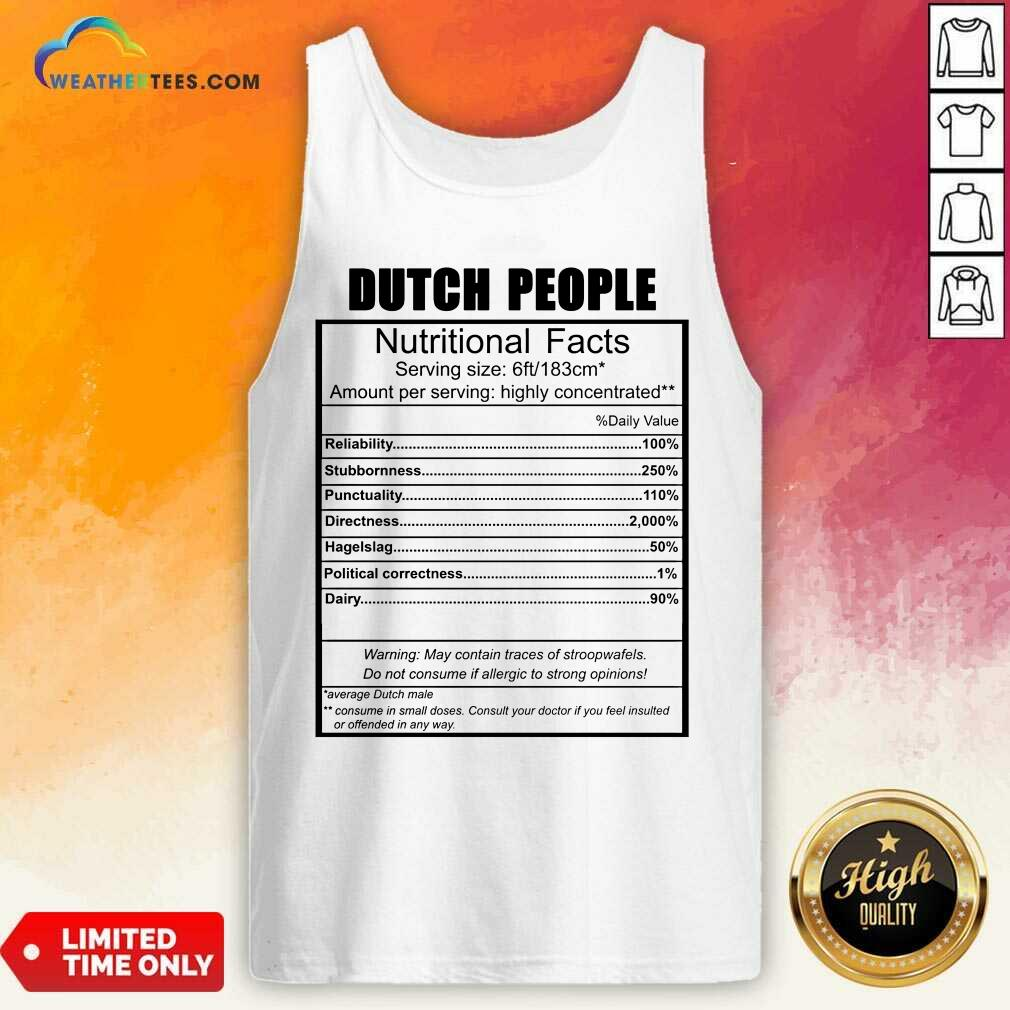 Dutch People Nutritional Facts Weight Lifting Tank Top - Design By Weathertees.com