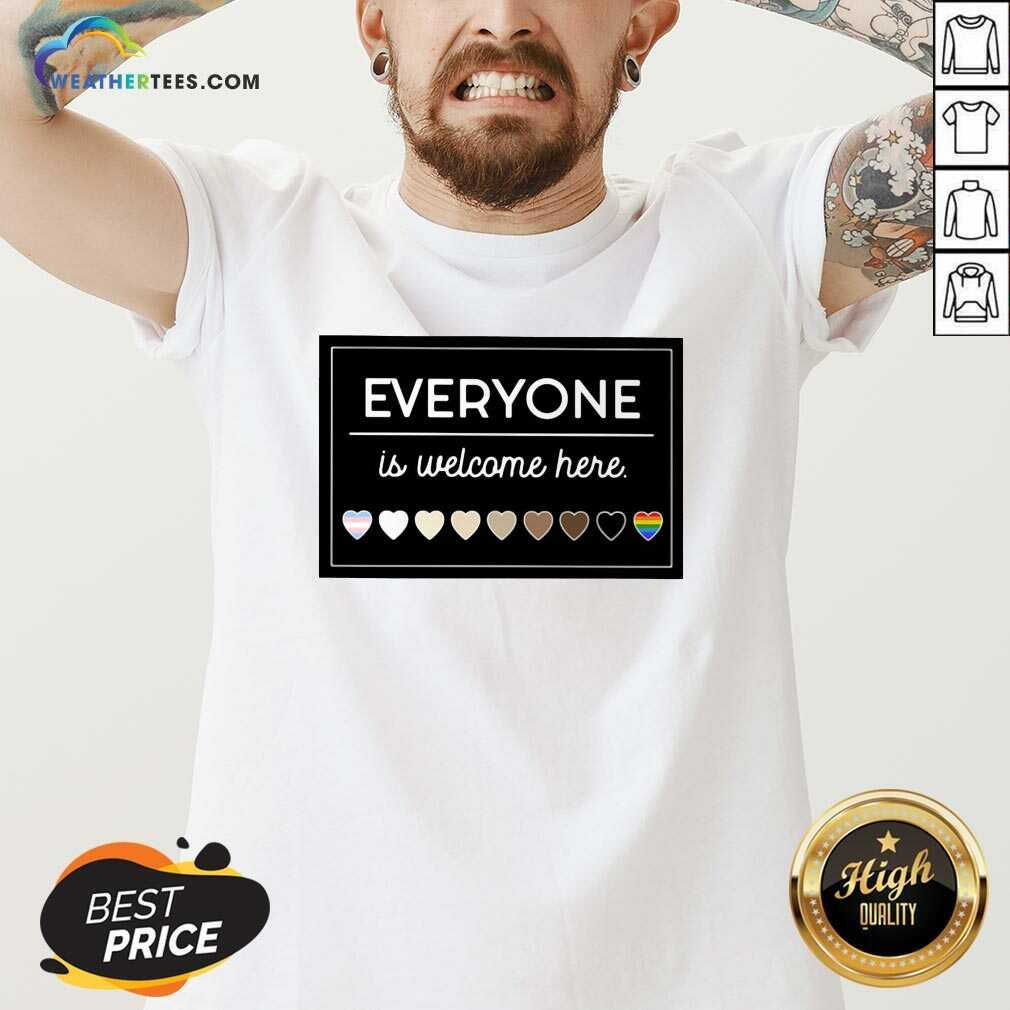 Everyone Is Welcome Here LGBT V-neck - Design By Weathertees.com