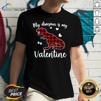 My Dinosaur Is My Valentine V-neck - Design By Weathertees.com