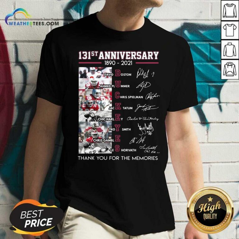 Ohio State Buckeyes Football 131st Anniversary 1890 2021 Thank You For The Memories Signatures V-neck - Design By Weathertees.com