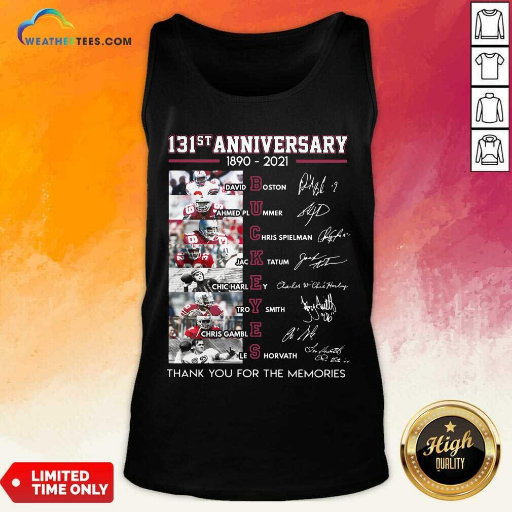 Ohio State Buckeyes Football 131st Anniversary 1890 2021 Thank You For The Memories Signatures Tank Top - Design By Weathertees.com