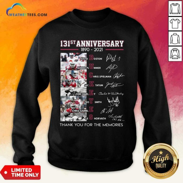 Ohio State Buckeyes Football 131st Anniversary 1890 2021 Thank You For The Memories Signatures Sweatshirt - Design By Weathertees.com