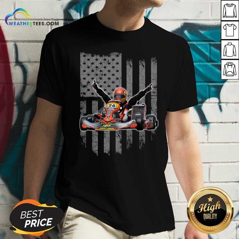 Sports Car Racing American Flag V-neck - Design By Weathertees.com
