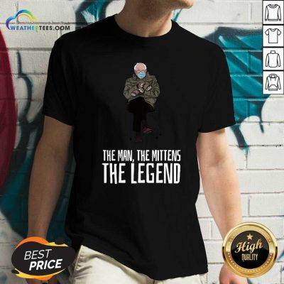Bernie Sanders The Man The Mittens The Legend V-neck - Design By Weathertees.com