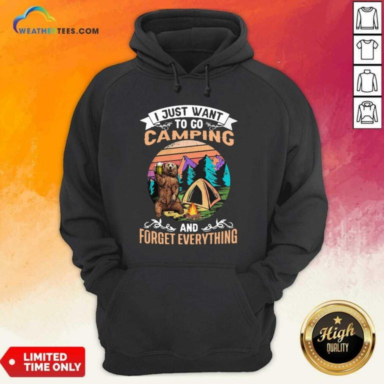 I Just Want To Go Camping And Forget Everything Bear Drink Beer Vintage Hoodie - Design By Weathertees.com