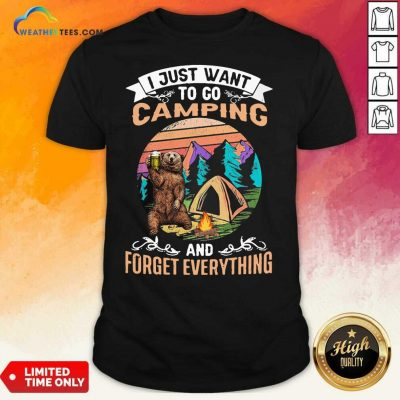 I Just Want To Go Camping And Forget Everything Bear Drink Beer Vintage Shirt - Design By Weathertees.com