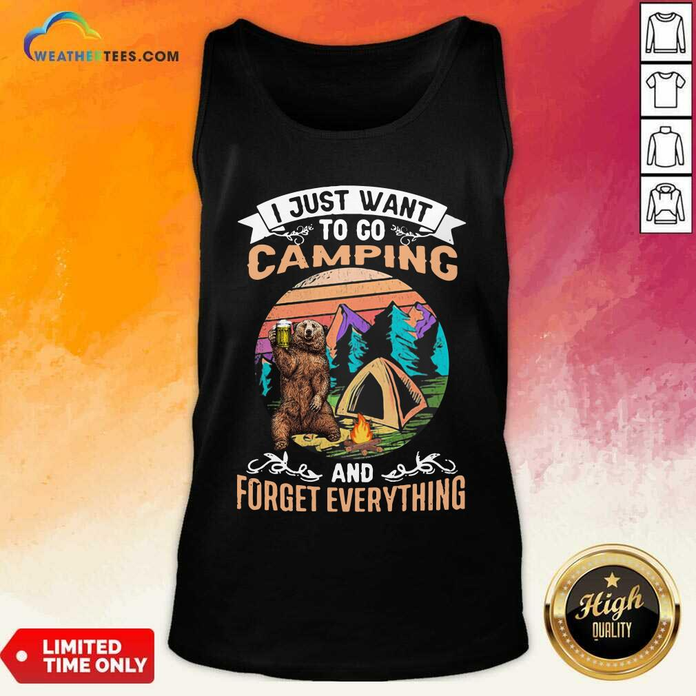 I Just Want To Go Camping And Forget Everything Bear Drink Beer Vintage Tank Top - Design By Weathertees.com