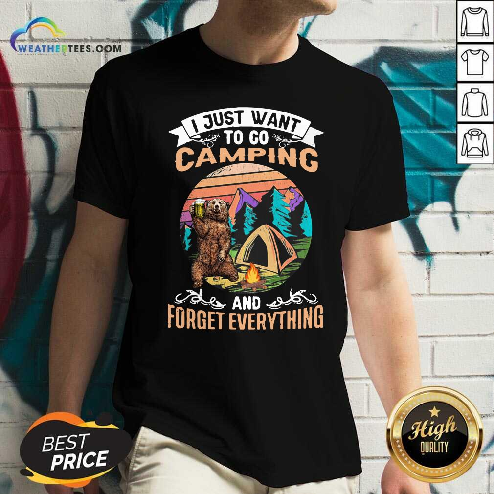 I Just Want To Go Camping And Forget Everything Bear Drink Beer Vintage V-neck - Design By Weathertees.com