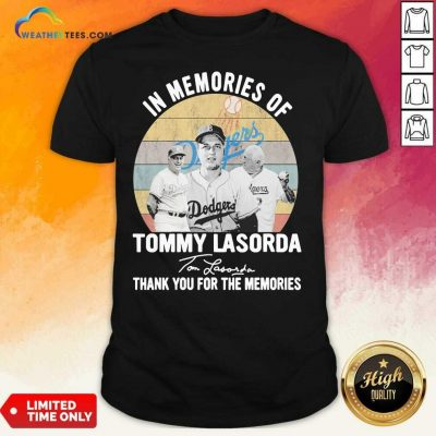 In Memories Of Tommy Lasorda Thank You For The Memories Signatures Vintage Shirt - Design By Weathertees.com
