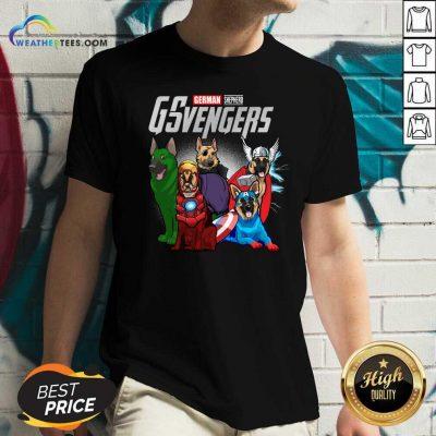 Marvel Avengers German Shepherd Gsvengers V-neck - Design By Weathertees.com